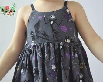Gray Nightmare Before Christmas Shirt, Dress or Maxi (Baby and Girls Newborn - 12) NBC girl dress, tim burton, jack and sally, jack skeleton
