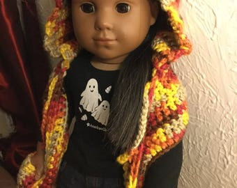 Fall leaf hooded pocket scarf for 18inch dolls