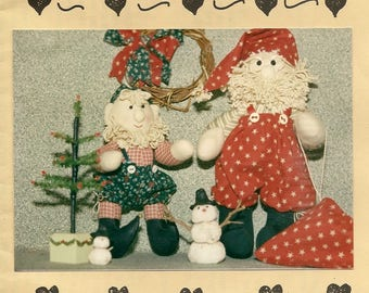 Vintage Christmas Décor Pattern County Santa and Helpful Elf Jolly Jingle and Elfie by Needle Hearts – Great DIY Craft Pattern