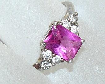 Vintage Pink Ring, Sterling Avon Ring, Vintage Rhinestone Ring, Rhinestone Ring, Pink Ring, Avon Ring,