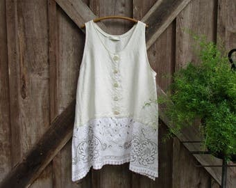 RESERVED FOR M washed linen tunic jumper pinafore in ivory with vintage lace ooak ready to ship
