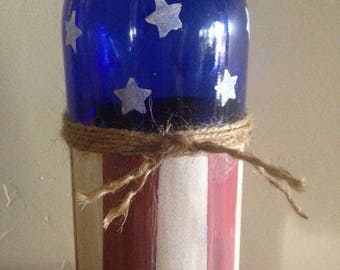 Hand Painted Wine Bottle American Flag Americana Blue