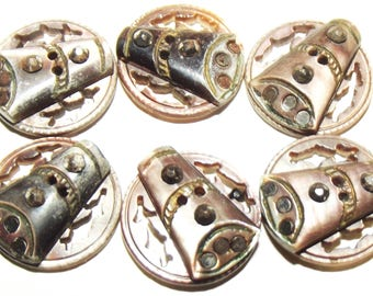 Antique Buttons ~ Abalone Pearl Buttons ~ Pearl Wedding Dress Buttons ~ Pearl And Cut Steel Buttons