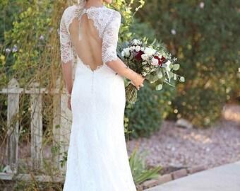 Keyhole Back Wedding Dress, Lace Wedding Dress, Hippie Boho Wedding Dress, Open Back Wedding Dress