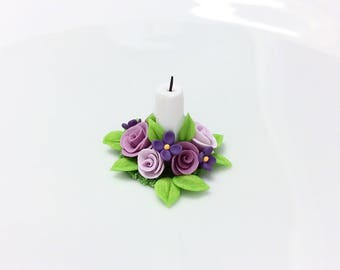 Dolls house candle with lilac and purple flowers in 1:12 scale handmade from polymer clay