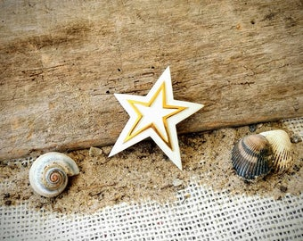White and Gold Trifari Star Brooch ~ Vintage Trifari Pin