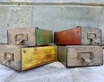4-Vintage Style Wood & Metal Apothecary Drawer Box Bins
