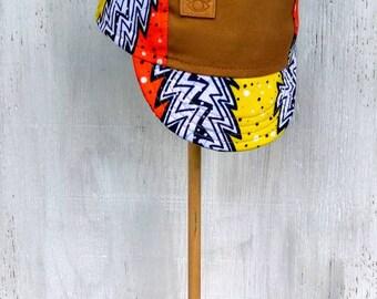Lightening Bolt, orange, yellow, and white Batik handmade Cycling Cap
