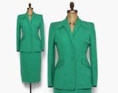 Vintage 40s Green Gab SUIT / 1940s Tailored Wool Gabardine Blazer Jacket & Pencil Skirt Set S