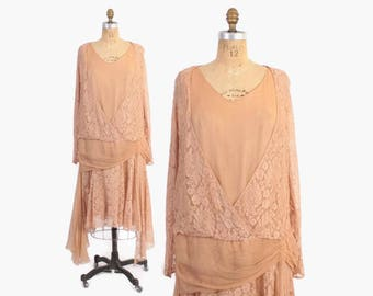 Vintage 20s Silk DRESS / 1920s Blush Pink Lace & Crepe Draped Party Dress L