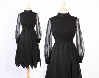 60s Mollie Parnis DRESS / Vintage 1960s Black Draped Chiffon Car Wash Pointed Hem Cocktail Dress S
