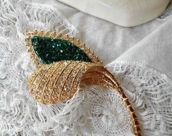 Vintage pave rhinestone brooch emerald green crystal flower bud Deco style brooch