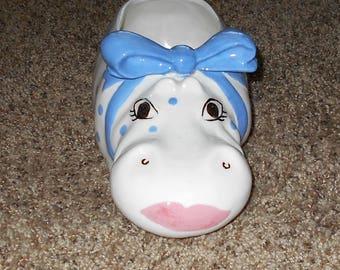 Vintage Ceramic Hippo - Hippo Planter - Nursery Decor - Hippoptamus Animal