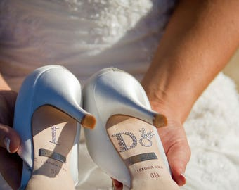 I DO Wedding Shoe Stickers in Silver with Diamond Ring