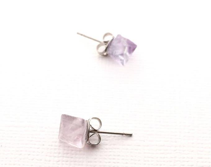 Fluorite Raw Crystal Stud Earrings