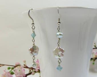 Pearl Flower Earrings, Asymmetric Freshwater Pearl Earrings, Pearl Earrings w Sterling & Swarovski, Aqua Silver Earrings, Pearl Earrings