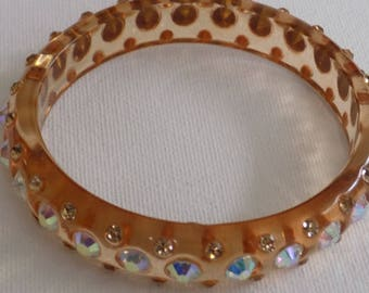 Vintage bracelet, funky boho lucite and AB crystals 8 inch bangle bracelet, jewelry