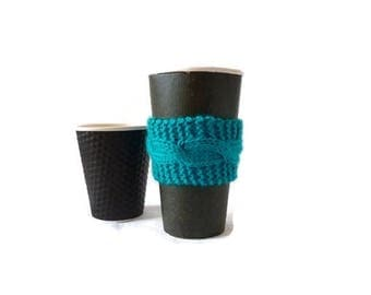 Knit Coffee Cozy, Cable Cozy, Coffee Sleeve