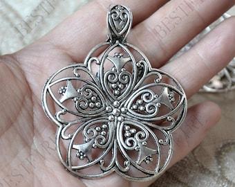 2 pcs Charms Large flower Pendant Antique silver Tone, Pendant Charms Fingdings pendant,jewelry pendant finding