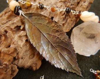 Elder Ancestor Pendant with Silver Elder Leaf, Vintage Bone, Amber and Garnet Beads