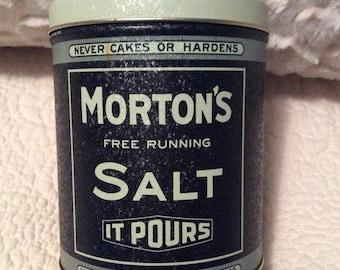 Vintage MORTON'S Salt Tin Container Blue Cream Americana Advertising