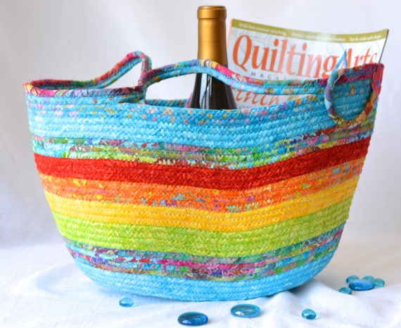 Gorgeous Fiber Basket, Handmade Batik Fabric Basket,  Rainbow Batik Tote Bag, Laptop Case, Unique Gift Basket, Baby Shower Gift Basket