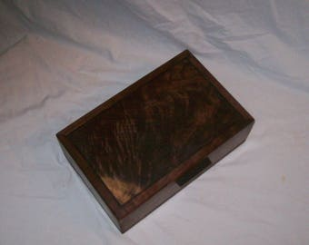 Humidor Walnut box with a  Fancy Walnut inlayed top Handcrafted Keepsake box