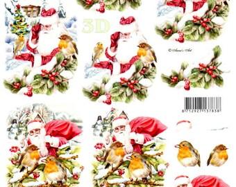 20-3d Sheet a cut Rossignol and Santa Claus