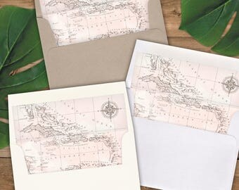 Envelope Liners A2 Size - Square Flap - Blush Watercolor Antique Caribbean Map - Pack of 25