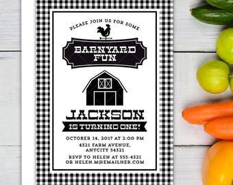 Modern Vintage Farm Party Black and White Invitation, Farmers Market Fresh Produce Farm Barnyard Gender Neutral Birthday Party Invitation