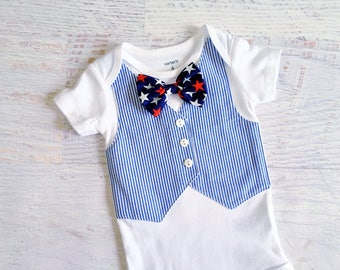 READY TO SHIP in Size 3 Months 4th of July Navy and White Seersucker Tuxedo Bodysuit Vest with Matching Removable Star Bow Tie