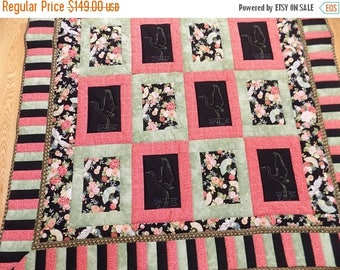 Sale Christmas in July Crane floral lap quilt handmade 55 x 73