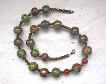 Raku ceramic beaded necklace long necklace green and copper necklace