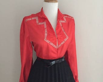 Vintage 1950s 1960s Blouse ~ Red Lace Cut Out Blouse ~ Long Sleeve Shirt ~Button Down Blouse Top ~ Mad Men ~ Rockabilly Pin Up Lucy Blouse
