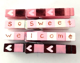 BABY GIRL CLOTHESPINS hand painted magnetic clothespins pink and brown hearts so sweet welcome home