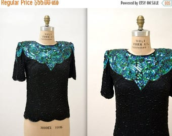 SALE Vintage Black Beaded Shirt Size Small// Vintage Metallic Sequin Top Shirt Blue Green and Black Size Small Medium Petite Art Deco Flappe
