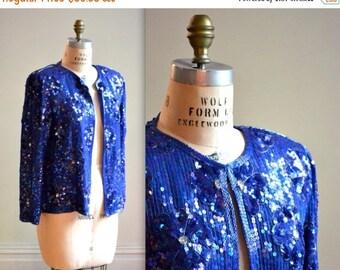 SALE Vintage Cobalt Blue Sequin Jacket Medium Large// Blue Silk Beaded Jacket  Size Medium