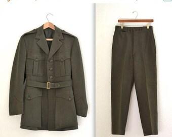 SALE Vintage World War 2 WWII Uniform Wool United States Military Jacket and Pants Uniform Size Small Medium Marine Army Navy
