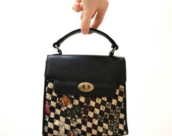 SALE Vintage Quilted Nicole Miller Black and White Checker Vegas Purse// Silk and Leather Quilted Bag
