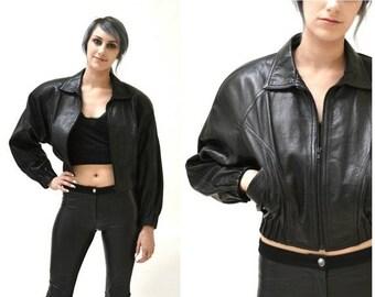 SALE Vintage Black Leather Motorcycle Jacket by North Beach Michael Hoban// Vintage Black Leather Bomber Moto Jacket SIze Small