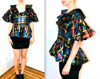 SALE Amazing Vintage Metallic Shirt with Ruffles Peplum Small Medium// Vintage Ruffle Shirt Top Metallic Silk Party Top