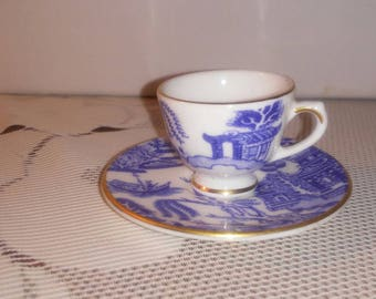 Coalport Bone China Blue and White Willow Miniature Cup and Saucer