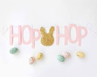 HOP HOP - Felt Letter Banner with Sequin Bunny - Garland, Bunting - Pink, Gold, Silver, White