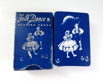 Vintage Miniature Playing Cards Deck, Antique Card Deck, Mini Playing Cards, Folk Dance, Dancing Dutch, Stocking Stuffer, Gifts for Everyone