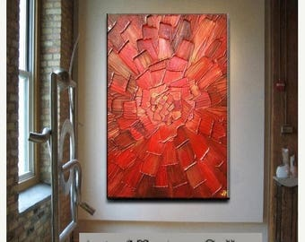 SALE Big Abstract Painting Custom Original Heavy Textured Impasto Modern Red Gold Oil by Je Hlobik