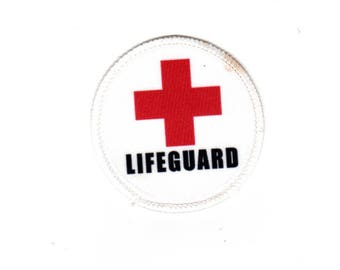 """Clearance Sale: Lifeguard Red Cross Rescue Sew-On Patch - 2.5"""" - FLAWED- 50% OFF! ( small stain on thread )"""