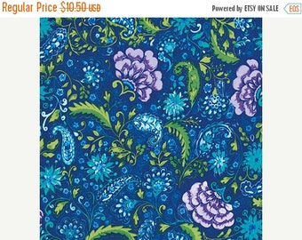 SALE 30% OFF - Blossom in Peacock pwdf139 - THE Painted Garden  - Dena Fishbein Designs - Free Spirit Fabric - By the Yard