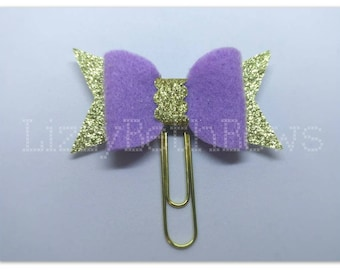 Planner clip, bookmark, planner bow clip, bow bookmark, purple and gold bow