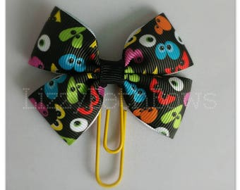 Spooky Eyes clip, bookmark, planner bow clip, bow bookmark, black orange yellow white blue green red creepy eyes halloween