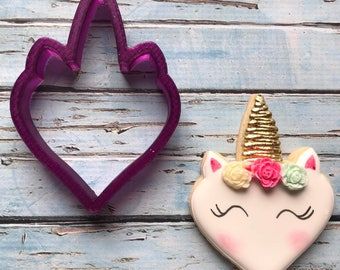 Unicorn Heart Cookie Cutter and Fondant Cutter and Clay Cutter